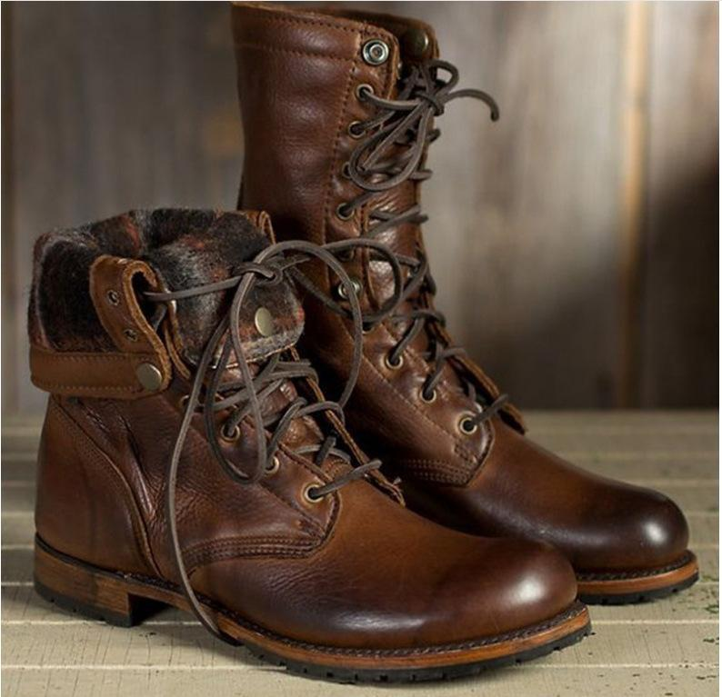 Men's High-Cut Lace-up Martin Boots Vintage Military Boot