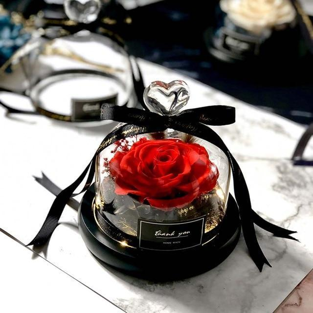Exclusive Real Preserved Rose in Glass Dome with Lights Rose Valentines Day Gift - Balma Home