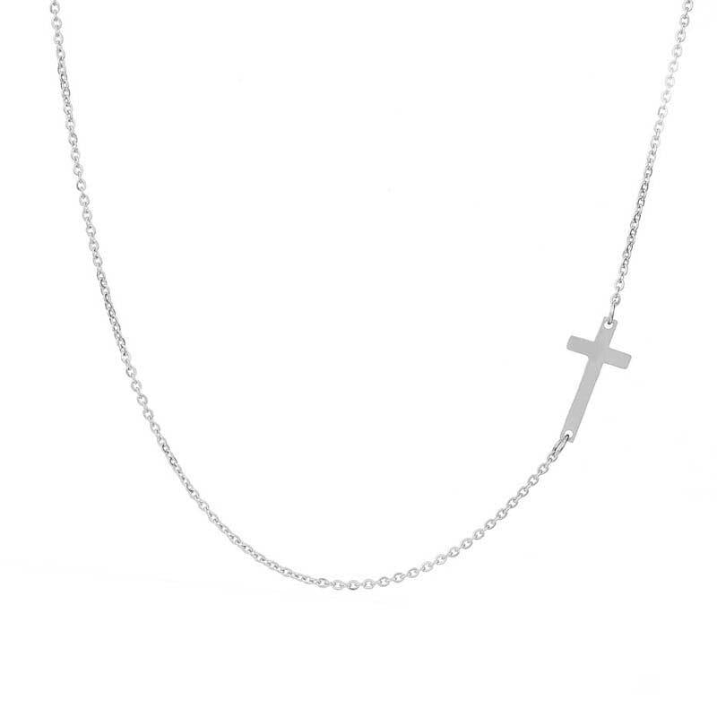 Sideways Curved Cross Pendant Necklace in Sterling Silver