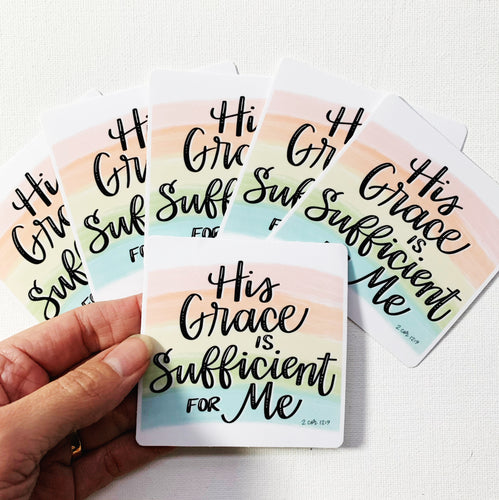 His Grace is Sufficient For Me Vinyl Sticker Rainbow