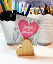 Load image into Gallery viewer, Wood Heart Shaped Card Holder