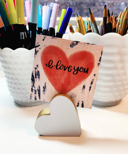 Wood Heart Shaped Card Holder