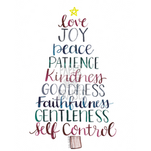 "Load image into Gallery viewer, ""Fruit of the Spirit"" Christmas Tree Art Print, Hand Lettering"