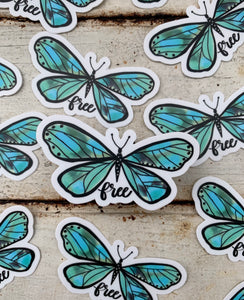 """Free"" Butterfly Vinyl Sticker"