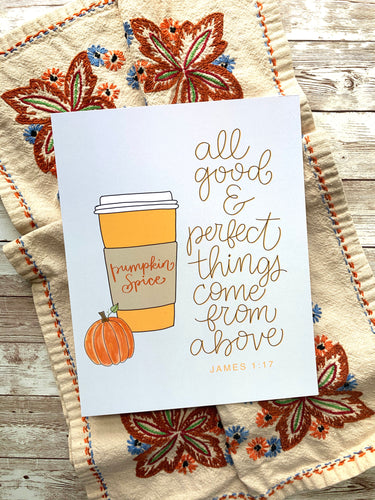 Pumpkin Spice Latte Fall Art Print