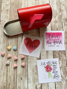 16 Card Set - Christian Scripture Valentines Watercolor Designs