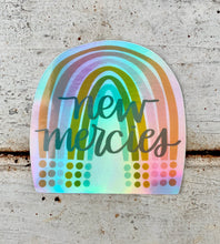 "Load image into Gallery viewer, ""New Mercies"" Rainbow Hologram Vinyl Sticker"