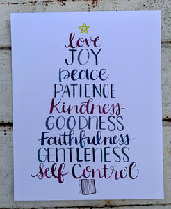 """Fruit of the Spirit"" Christmas Tree Art Print, Hand Lettering"