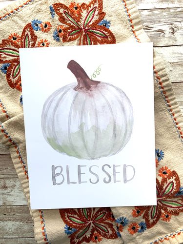 Blessed White Pumpkin Watercolor Art Print