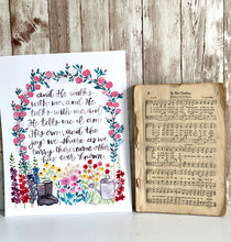 "Load image into Gallery viewer, ""In The Garden"" Hymn Hand Lettered Watercolor Print"
