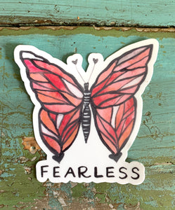 """Fearless"" Butterfly Vinyl Sticker"