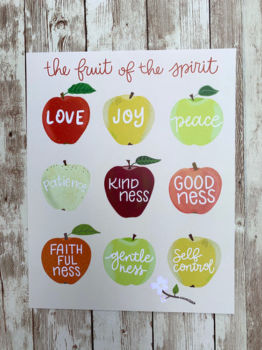 Fruit of the Spirit Apples - Hand Lettered Fall Art Print