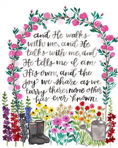 """In The Garden"" Hymn Hand Lettered Watercolor Print"