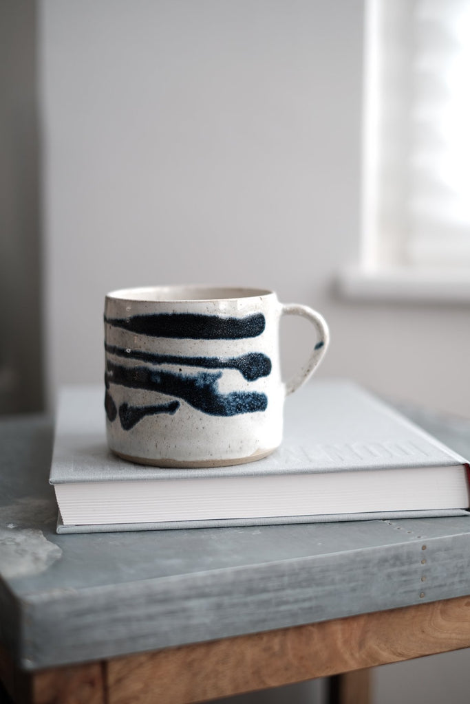 extra large white ceramic mugs with blue ripple decoration