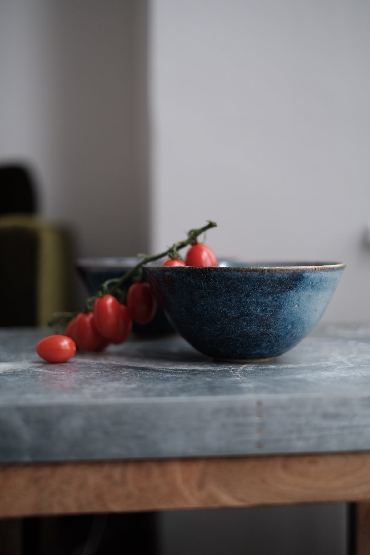 blue ceramic breakfast bowl
