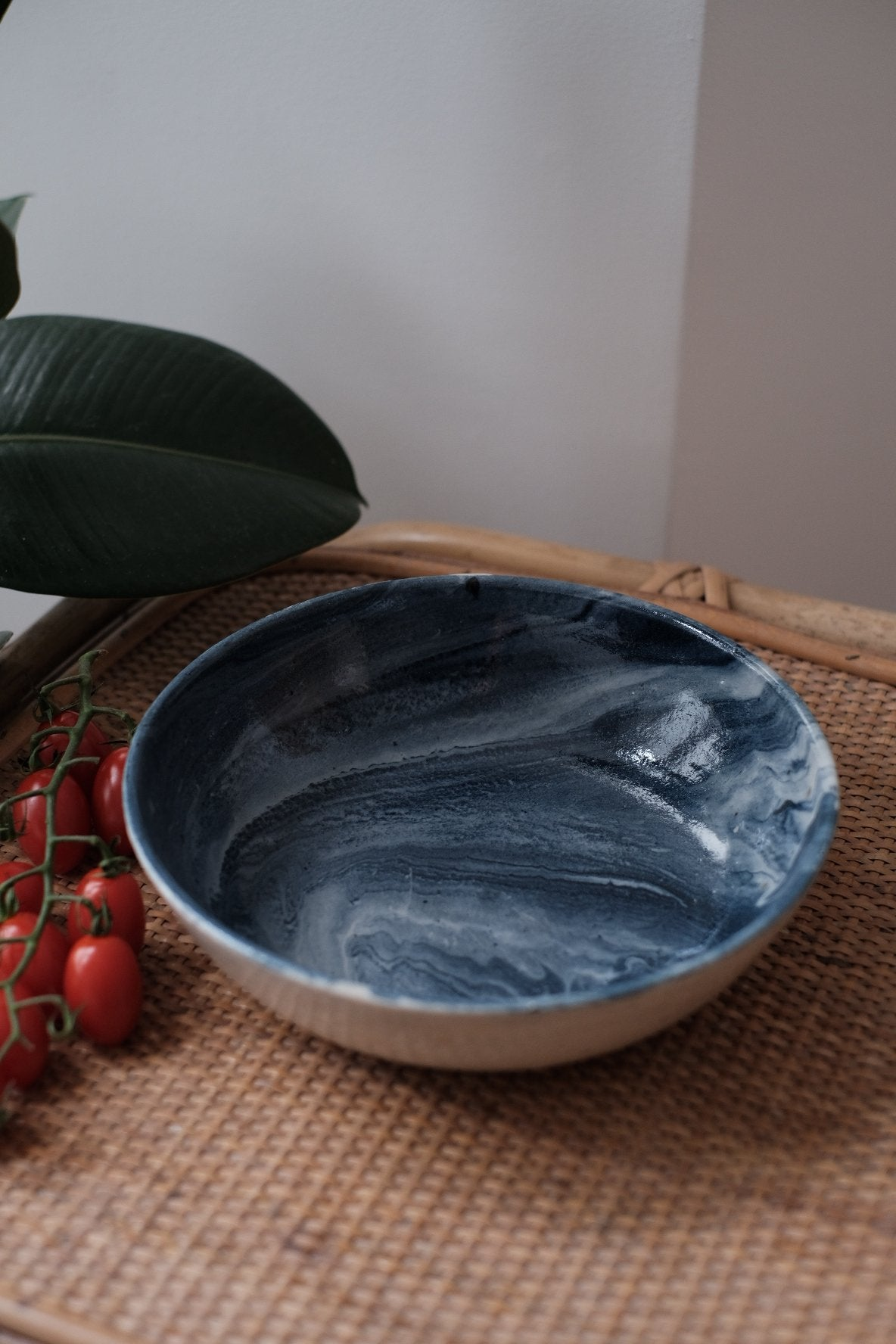 marbled blue and white serving bowl