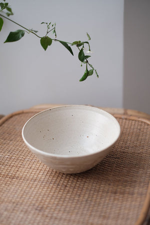 white ceramic ramen bowl glazed with satin finish and a bare clay brush stroke effect