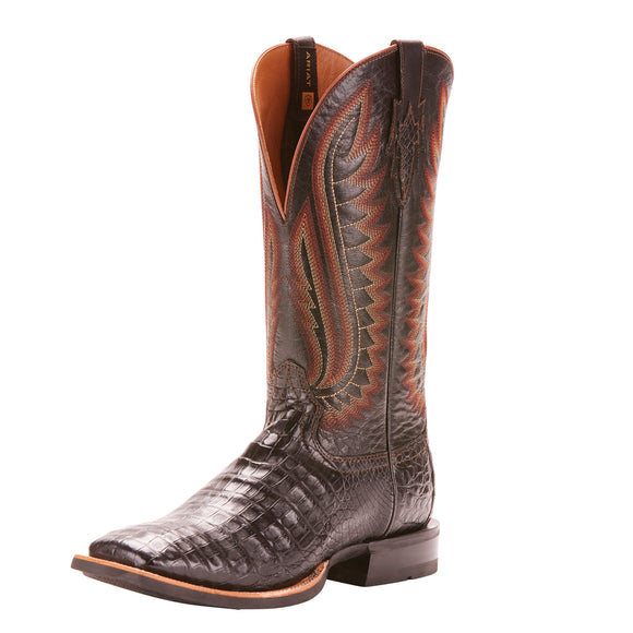 Ariat Double Down Caiman Gator Belly Square Toe Boot (Black)