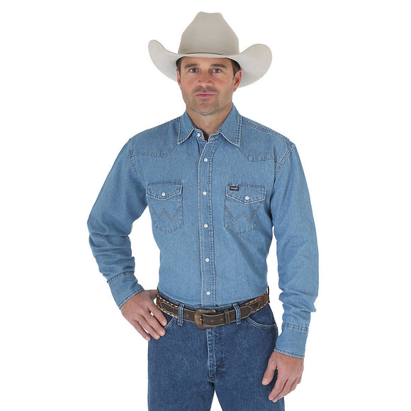 Wrangler Cowboy Cut® Work Western Long Sleeve Denim Snap Shirt (Stonewash)