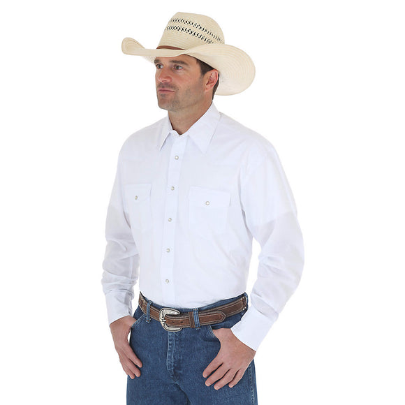 Wrangler® Western Long Sleeve Snap Solid Shirt (White)