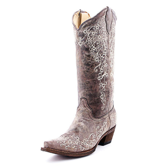 Women's Corral Embroidery Western Boots (Bone)