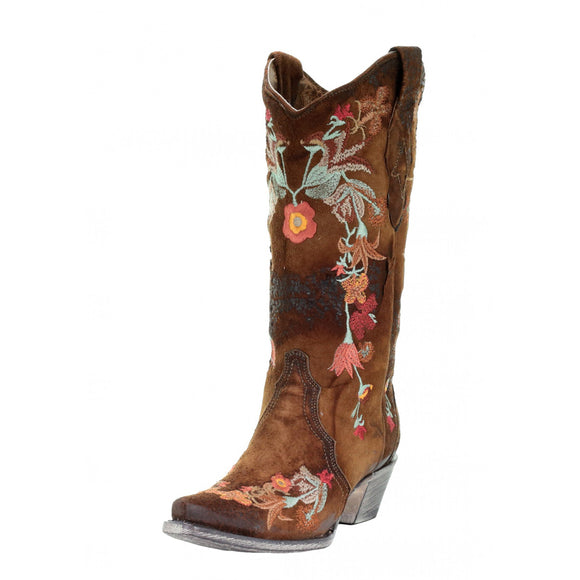 Women's Corral Lamb Floral Embroidery (Chocolate)