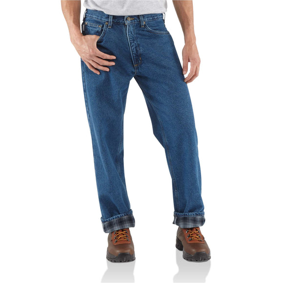Carhartt Flannel Lined Relaxed Fit Straight Leg Jean (Darkstone)