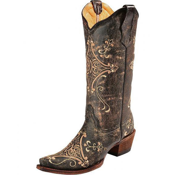 Women's Circle G Crackle Embroidery Western Boots (Brown)