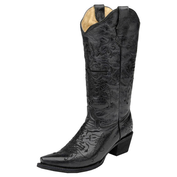 Women's Circle G Black Cross Embroidered Western Boots (Black)