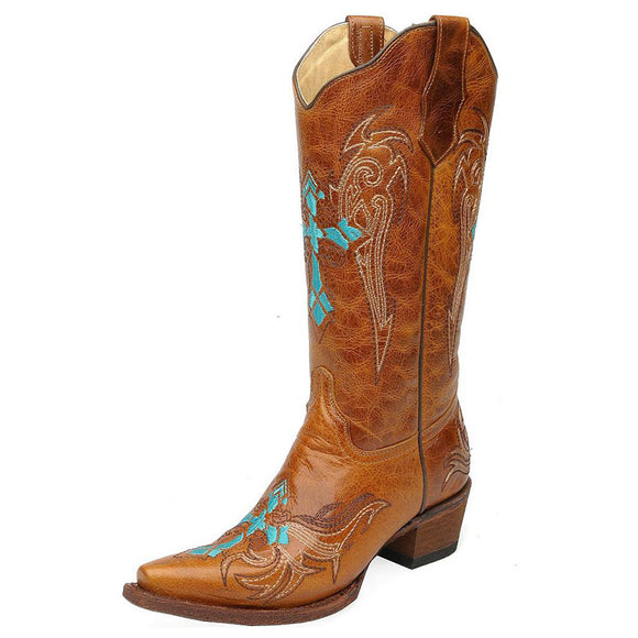 Women's Circle G Turquoise Cross Embroidered Western Boots (Cognac)