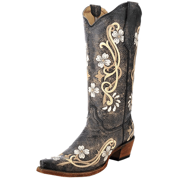 Circle G Black Foral Embroidered Boots