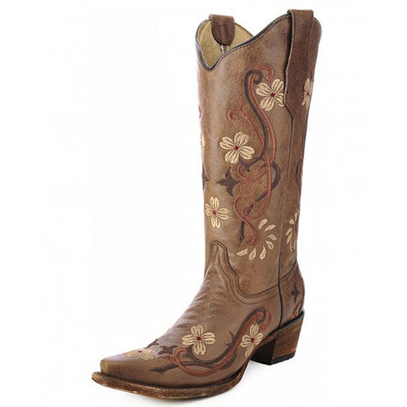 Women's Circle G Floral Embroidery (Brown)