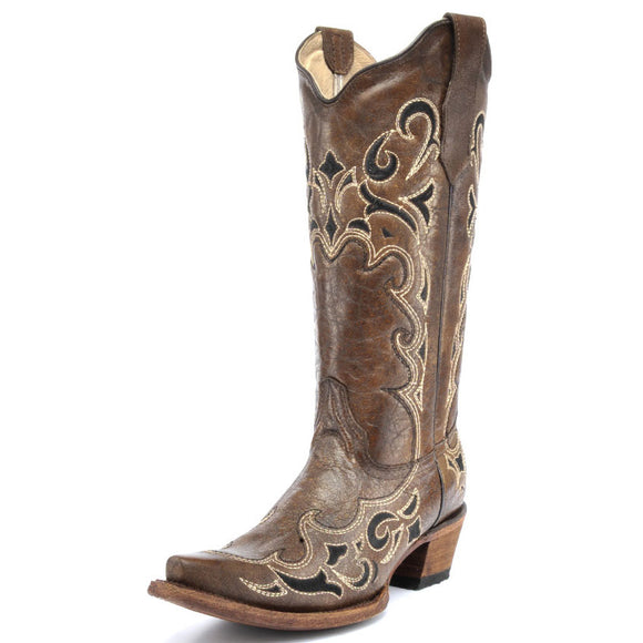 Women's Circle G Side Embroidery Snip Toe Western Boots (Honey)
