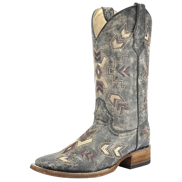Women's Circle G Distressed Arrowhead Western Boots (Lt Black)