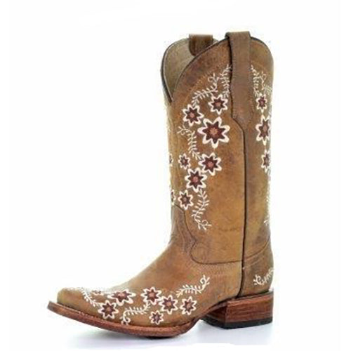 Women's Circle G Floral Embroidery Square Toe (Tan)