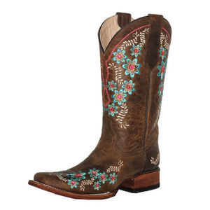 Women's Circle G Floral Embroidery Boots Square Toe (Tan)