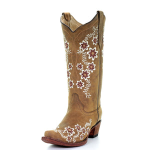 Women's Circle G Leather Floral Embroidery Snip (Brown)