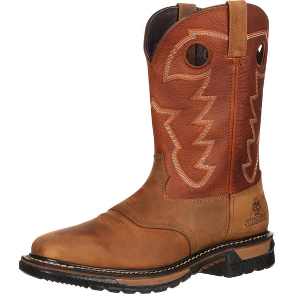 Rocky Original Ride Branson Square Toe Waterproof (Tan and Ochre)
