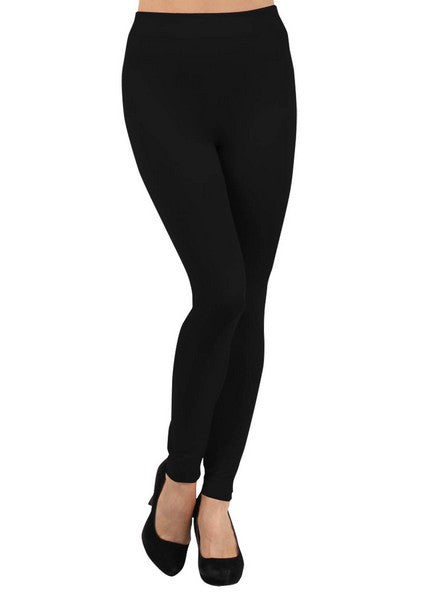 Solid Fleece Lined Leggings (Black)