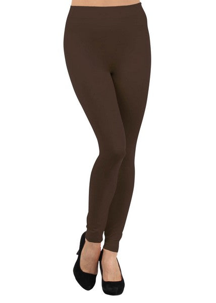 Solid Fleece Lined Leggings (Coffee)