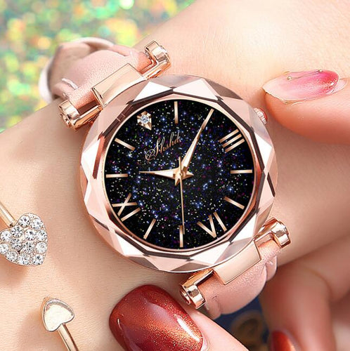 Luxury Starry Sky Female Clock Quartz Watches
