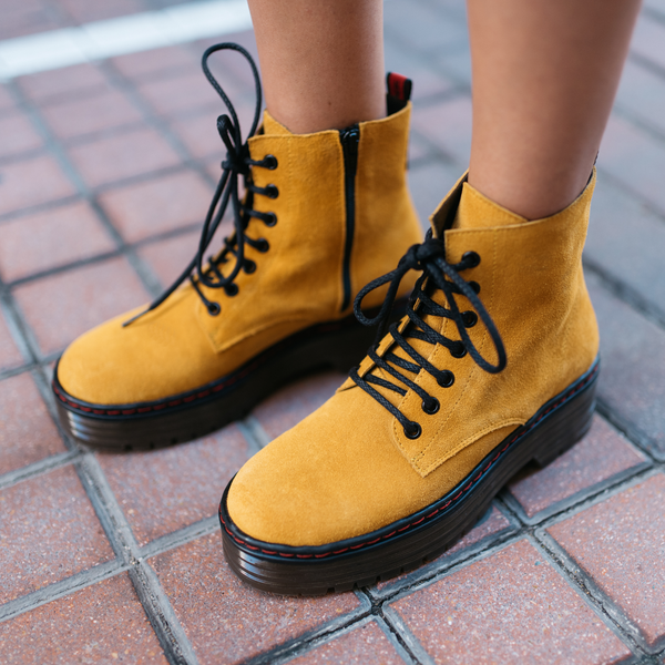 Mustard leather military boot ARIA - Bryan Stepwise