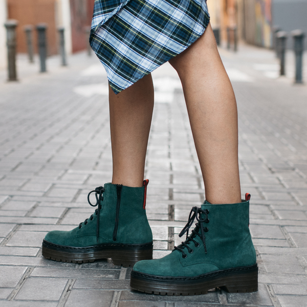 Green leather military boot ARIA - Bryan Stepwise
