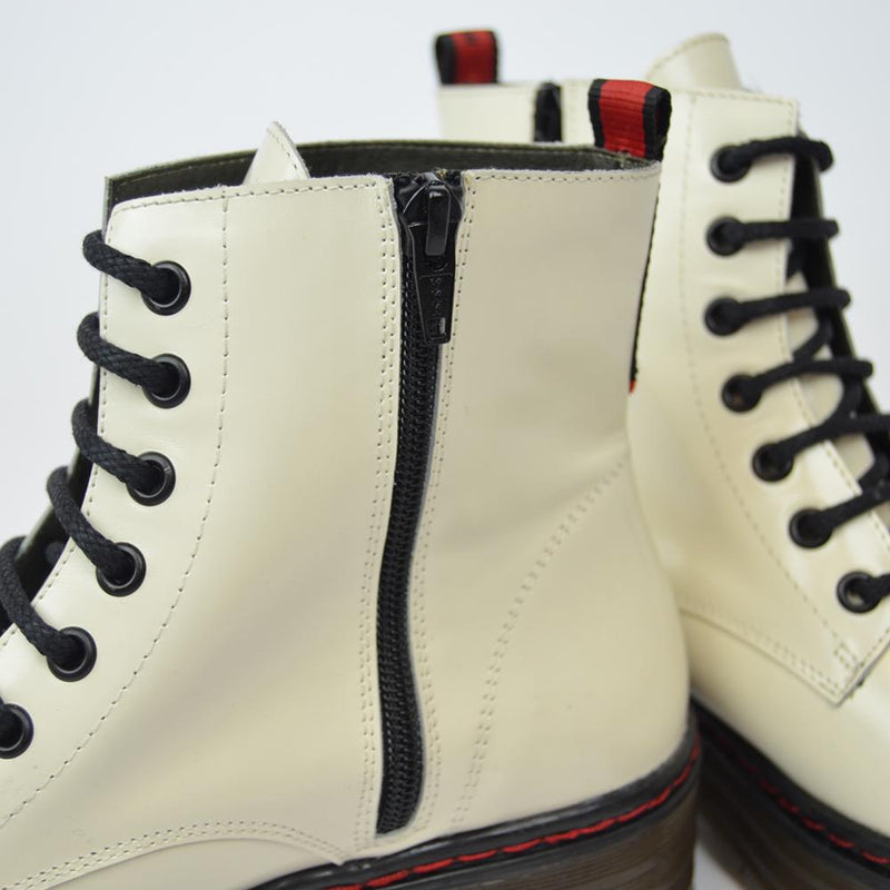 White leather military boot ARIA - Bryan Stepwise