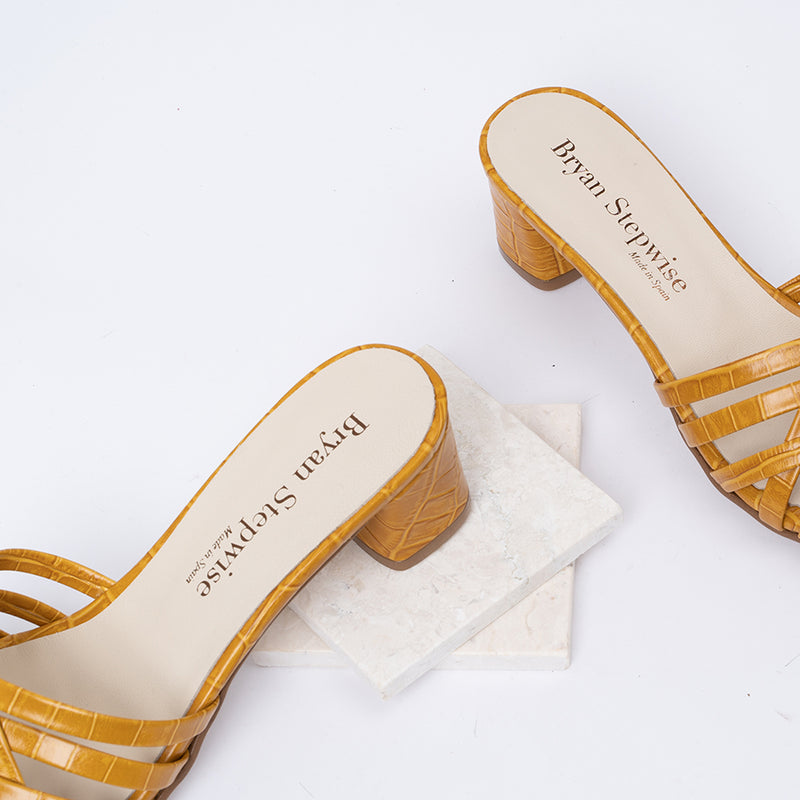 Braided yellow coco leather heeled sandals - AMAIA