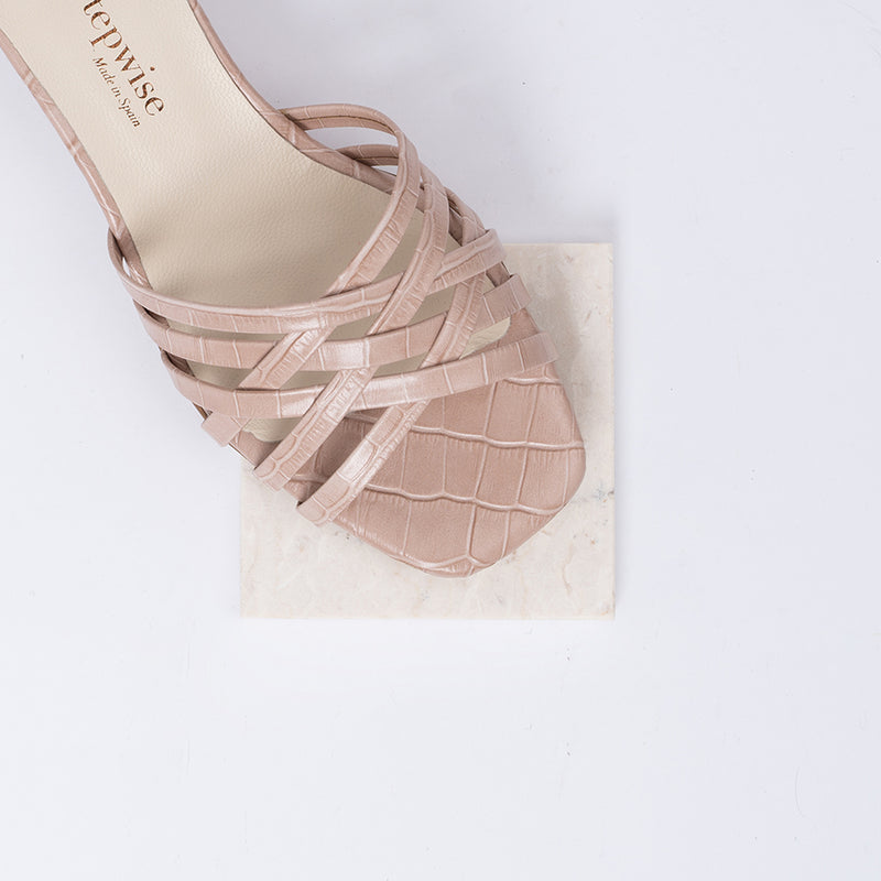Braided nude coco leather heeled sandals - AMAIA