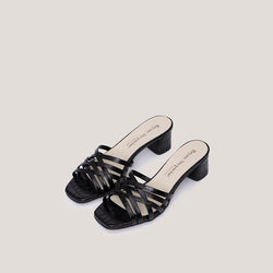 Braided black coco leather heeled sandals - AMAIA - Bryan Stepwise