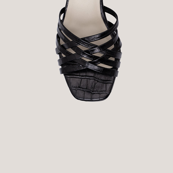 Braided black coco leather heeled sandals - AMAIA