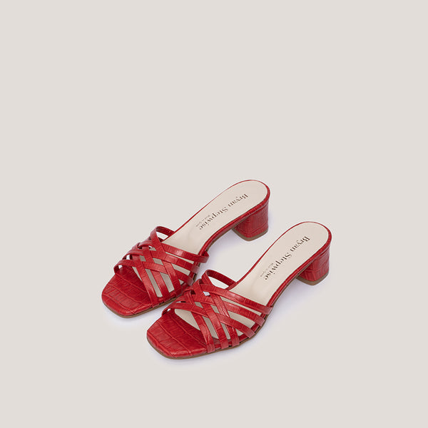 Braided red coco leather heeled sandals - AMAIA - Bryan Stepwise