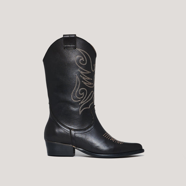 Black leather cowboy boot JANDRA - Bryan Stepwise